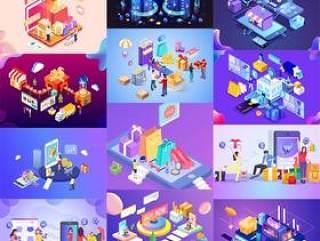 18款电商淘宝手机UI插图画购物banner广告毕业设计作品AI矢量分层素材