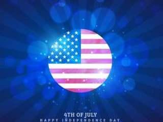 美国国旗图标在蓝色的背景
