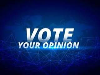 投票你的意见矢量蓝色背景
