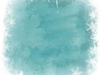 圣诞雪花边框上水彩背景