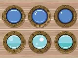 金舷窗或船窗口在木背景上的一套