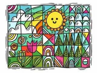 五颜六色的几何花景观