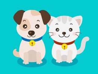 可爱的小狗和小猫的卡通