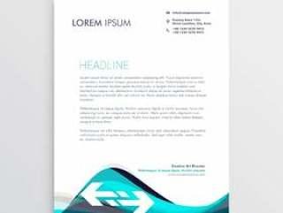 优雅的蓝色和灰色波浪信纸设计