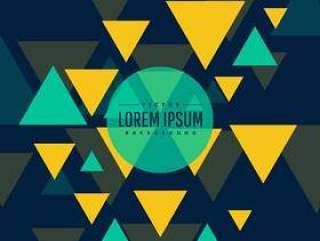 抽象的蓝色和黄色三角形在黑暗的背景