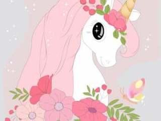 可爱的粉彩独角兽卡通在柔和的彩色花朵