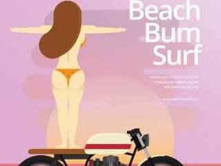 海滩流浪汉和女孩在摩托车,海滩和日落度假图上冲浪