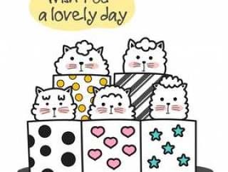 可爱的小猫卡通