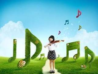 拉小提琴的可爱女孩psd分层