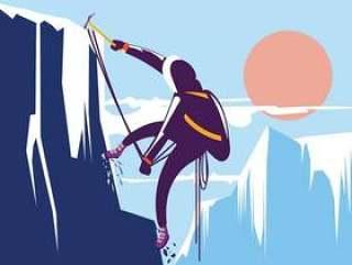 在美丽的冬天山徒步旅行的人。与概念的登山家