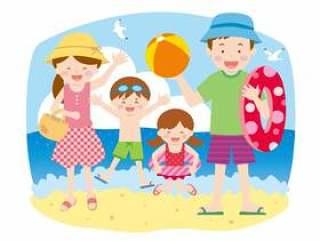 家族2世帯(4人)04_海水浴02