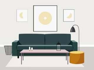 矢量室内设计插图
