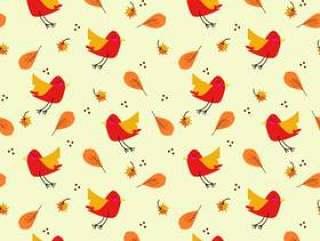 可爱的小鸟在色彩鲜艳的秋叶无缝模式