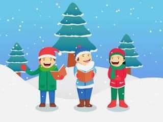 唱圣诞颂歌传染媒介例证的孩子