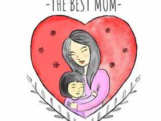 有小女孩的逗人喜爱的母亲在红色心脏和叶子附近