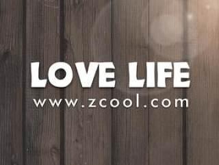 wood LOVE LIFE艺术字PSD分层素材