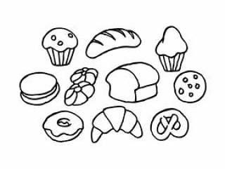 的面包素描图标矢量