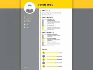 平面设计师简历黄色矢量