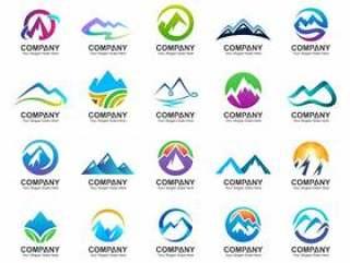 山徽标设计集合,自然图标,抽象山标志集矢量素材下载