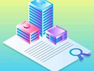 房地产业务矢量图的平面设计概念