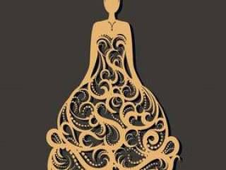 华丽的婚纱礼服激光切割。贺卡,婚礼模板。