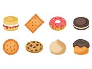 的糖果和饼干图标矢量