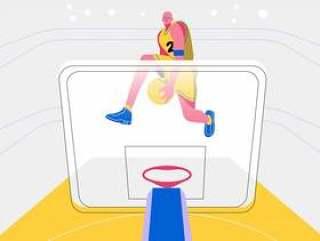 灌篮扣球篮球运动员前视图矢量平面插画