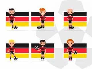 男性德国足球运动员字符组装