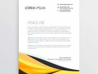 黄色和黑色的抽象波信头模板