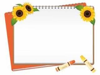 一个框架与向日葵和画布01