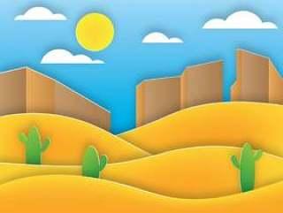 沙漠纸艺术景观矢量