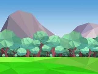 有山背景传染媒介例证的低多森林