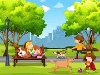 人和宠物在公园