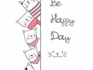逗人喜爱的小猫动画片手拉的样式