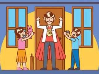 超级英雄爸爸矢量图