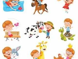 使用与动物的小女孩的传染媒介例证