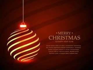 假日季节的金色垂悬的圣诞节球设计