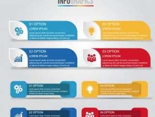 信息图表设计模板,经营理念与4步或选项