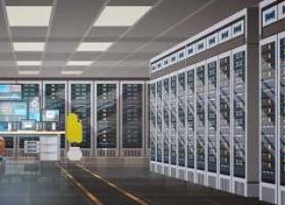 在数据中心房间托管服务器工作的人