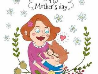 拿着有花和叶子的上面和白花附近的逗人喜爱的妇女妈妈