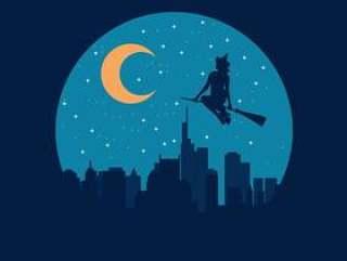 飞行在城市例证的巫婆Befana