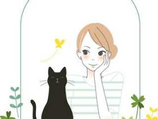 成年女孩和黑猫的面条