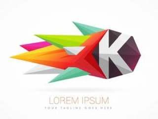 与字母K的多彩抽象徽标