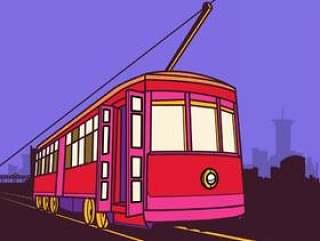 在运河街道例证的有轨电车运河线