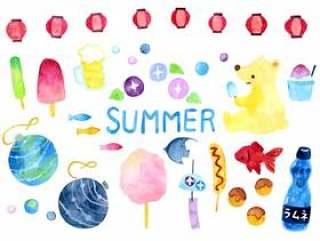 夏季音乐节水彩插图集合