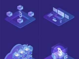 10款2.5D手机电脑金钱金融商务UI设计卡通插图插画AI矢量分层素材