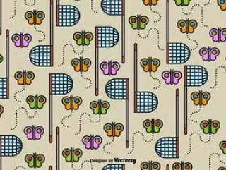 矢量可爱的无缝蝴蝶网模式