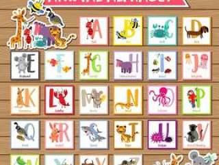 A到Z动物英文字母表儿童矢量素材下载