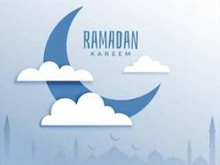 斋月贾巴尔节日背景与月亮和云