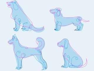 狗内衬手绘抽象矢量图